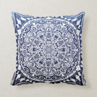 Dark Blue Gradient Mandala Pattern Cushion
