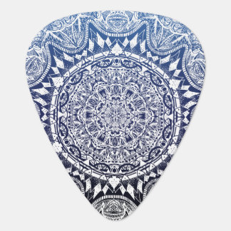Dark Blue Gradient Mandala Pattern Guitar Pick
