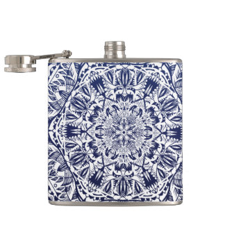 Dark Blue Gradient Mandala Pattern Hip Flask
