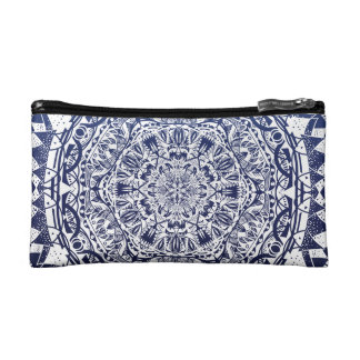 Dark Blue Gradient Mandala Pattern Makeup Bag
