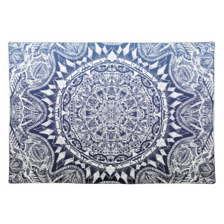 Dark Blue Gradient Mandala Pattern Placemat