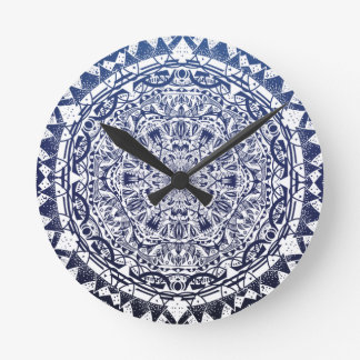 Dark Blue Gradient Mandala Pattern Round Clock