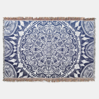 Dark Blue Gradient Mandala Pattern Throw Blanket