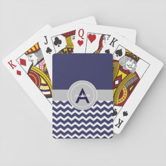 Dark Blue Gray Chevron Poker Deck