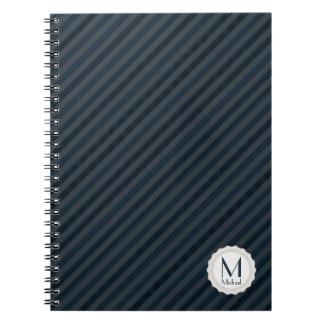 Dark Blue & Gray Personalized Monogram Notebook