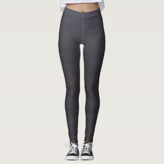 Dark Blue Gray Wood Design Leggings