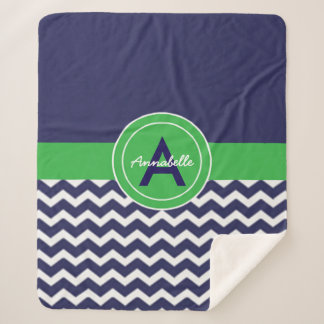 Dark Blue Green Chevron Sherpa Blanket
