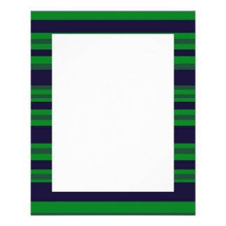dark blue green stripes flyer