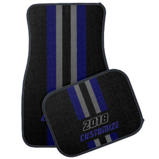 Dark Blue, Grey And Black Race Double Stripes Floor Mat