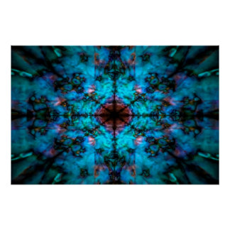 Dark blue kaleidoscope pattern poster