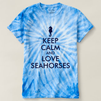 Dark Blue Keep Calm and Love Seahorses T-Shirt