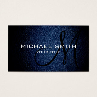 Dark Blue leather Business Card