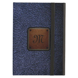 Dark blue leather look brown tag iPad air cover