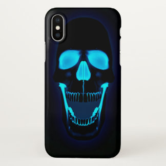 Dark blue lighs skull head iPhone x case