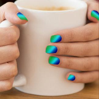 Dark Blue Light Blue Green Stripes Minx Nail Art