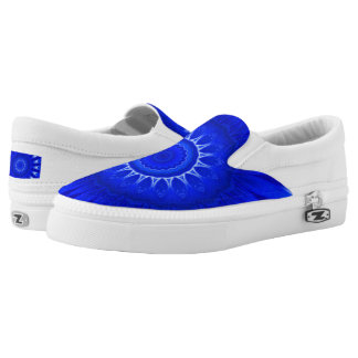 Dark Blue Mandala  Custom Zipz Slip On Shoes