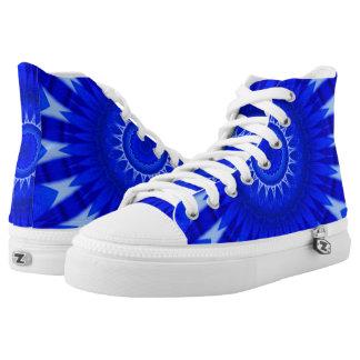 Dark Blue Mandala Zipz High Top Shoes
