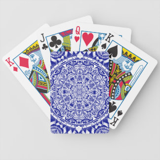 Dark Blue Mehndi Mandala Bicycle Playing Cards