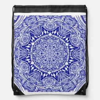 Dark Blue Mehndi Mandala Drawstring Bag