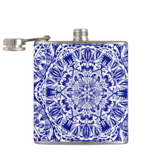 Dark Blue Mehndi Mandala Hip Flask