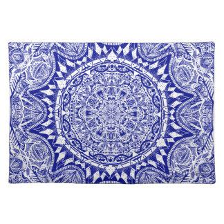Dark Blue Mehndi Mandala Placemat