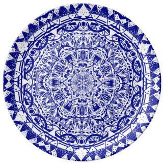 Dark Blue Mehndi Mandala Plate