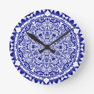 Dark Blue Mehndi Mandala Round Clock