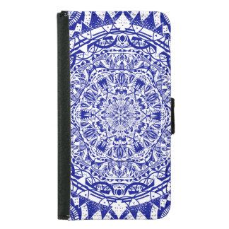 Dark Blue Mehndi Mandala Samsung Galaxy S5 Wallet Case