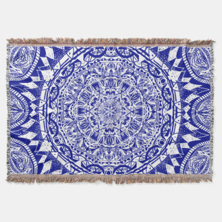 Dark Blue Mehndi Mandala Throw Blanket