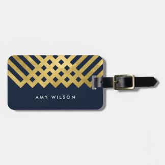 Dark Blue Modern & Faux Gold Geometric Luggage Tag