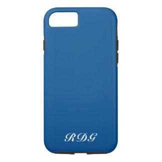 Dark Blue Modern Professional White Monogram iPhone 8/7 Case