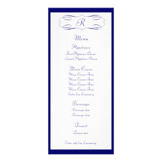 Dark Blue Monogram Wedding Menu Personalized Rack Card