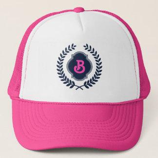 Dark Blue Monogramed Badge Trucker Hat