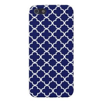 Dark Blue Moroccan Quatrefoil iPhone 5/5S Cases