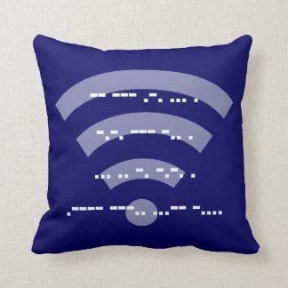 Dark Blue Morse code design cushion 41cmx41cm