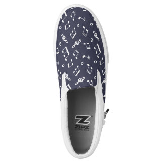 Dark Blue Music Notes Pattern Printed Shoes