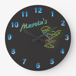 Dark Blue Neon Sign Customizable Mancave Tavern Large Clock