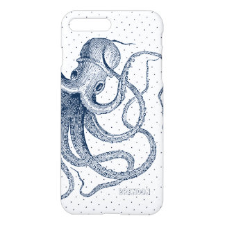 Dark-Blue Octopus & Dots Pattern iPhone 8 Plus/7 Plus Case