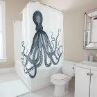 Dark Blue Octopus Shower Curtain