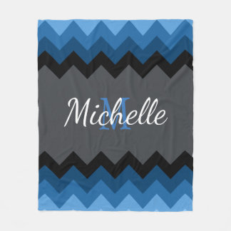 Dark Blue Ombre Chevrons Monogram Fleece Blanket