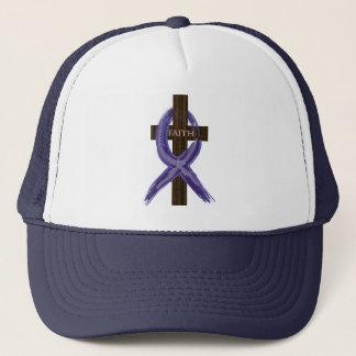 "Dark Blue ""Painted"" Colon Cancer Ribbon Trucker Hat"