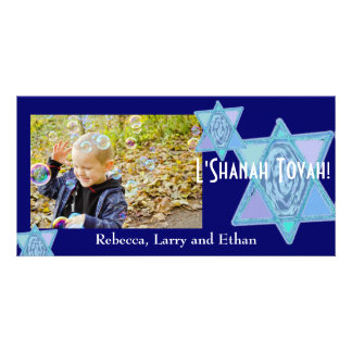 Dark Blue Painted Star of David photo card