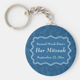 Dark Blue Paisley Pattern Bar Mitzvah Basic Round Button Key Ring