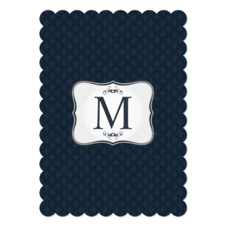 Dark Blue Pattern – Classy Men's Monogram Card