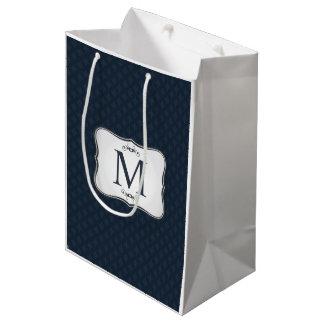 Dark Blue Pattern – Classy Men's Monogram Medium Gift Bag