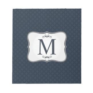 Dark Blue Pattern – Classy Men's Monogram Notepads