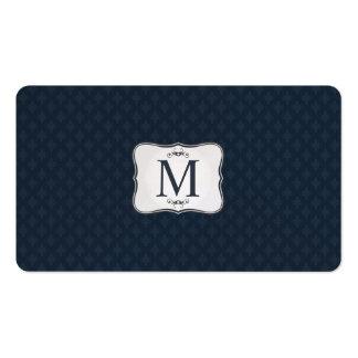 Dark Blue Pattern – Classy Men's Monogram Pack Of Standard Business Cards