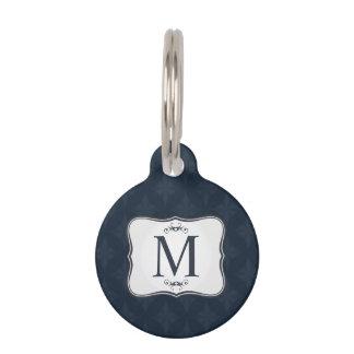 Dark Blue Pattern – Classy Men's Monogram Pet ID Tags