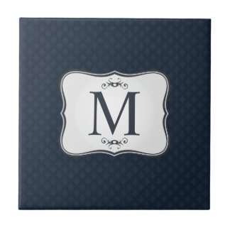 Dark Blue Pattern – Classy Men's Monogram Small Square Tile