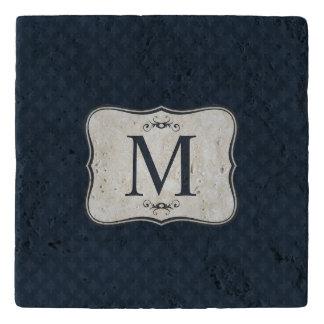 Dark Blue Pattern – Classy Men's Monogram Trivet